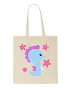 Cute Seahorse With Stars Starfish Character Tote Bag Shopper