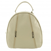 Made In Italy Genuine Leather Woman Backpack Colour Beige Tuscan Leather - Backpack