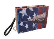 God Bless America Red, White And Blue Book Clutch Purse