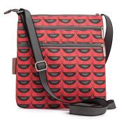 Nicky James Blackbirds on Red Canvas Flat Crossbody Bag