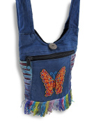 Colourful Cotton Cross Body Bag with Butterfly Embroidery and Fringe