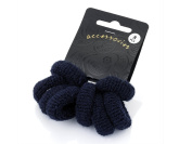 Set of 8 Small Quality Thick Navy Blue Hair Ponios Donuts Bobbles