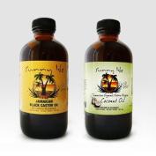 Jamaican Black Castor Oil 240ml & Extra Virgin Organic Coconut Oil 120ml by Sunny Isle JBCO