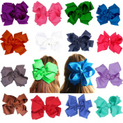 Big Hair Bows Clips For Girls Teens- 20cm Dual Bows Style Boutique Super Huge Large Bowknot Girls Children Women Alligator Clip-Grosgrain Ribbon Hair Clips-16 Pieces