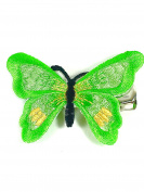 Butterfly Hair Clip Embroidered Bright Colour 5cm Forked Clip Hair Clamp (Green) by Molly & Rose