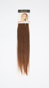 1st Lady Silky Straight Natural European 3 pcs Clip on Human Hair Extension with Premium Blend, Number 5, Medium Brown, 46cm 28g
