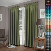 H.Versailtex Spring Fashion Solid Thermal Insulated Blackout Pencil Pleat Anti - Mite Curtains for Bedroom with Two Free Tiebacks - Moss, Energy Saving & Noise Reducting, 170cm Width x 230cm Drop, Set of 2 pieces
