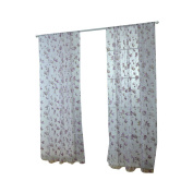 Oshide Door Room Divider Sheer Voile Window Curtain, Offset Blind Printed Glass Yarn Balcony Curtain