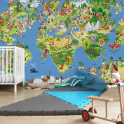 APALIS Non-Woven Wallpaper Children's Wallpapers Wall Mural Great And Funny World Map Photo Wallpaper Wide Fleece Photo Wallpaper Wall 669080 94664 - Multi-Coloured - 1374992