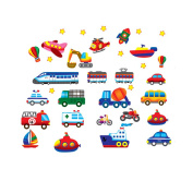 Boys Girls Nursery Bedroom Decoration Wall Sticker Decal Cars Trains Trucks Boats