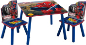 Marvels Spiderman Childrens Wooden Table And Two Chairs Set - Kids Bedroom / Playroom
