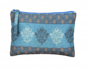 Digitally Printed Ethnic Pouch 100% Polyester Reversible Design Waterproof Quilted 15cm X 23cm ,EDB-4Blue