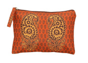 Digitally Printed Ethnic Pouch 100% Polyester Reversible Design Waterproof Quilted 15cm X 23cm ,EDB-4Rust
