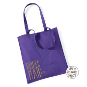 BRIDESMAID & RING IN METALLIC GOLD - 100% Cotton Tote Bag Wedding Gift Planning Favour