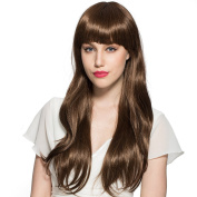 CW.LYANS Light Brown Long Curly and Neat Bang Hairstyle Wig Hign-Temperature Resistance Fibre Synthetic for Women with Free Wig Cap