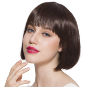 CW.LYANS Light Brown Short Bobo Hairstyle Wig,Hign-Temperature Resistance Fibre Synthetic for Women with Free Wig Cap