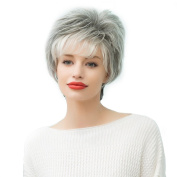 Asifen Short Curly Silver Grey Wigs for Women