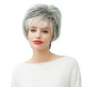 Asifen Short Curly Silver Grey Wigs for Women