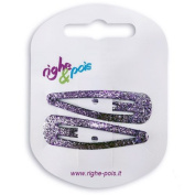 308 - 609 - Pegs Clic Clac Metal 5 cm With Glitter - Set of 2 Hair Clips lilac