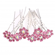 ILOVEDIY 10pcs Rose Pink Crystal Rhinestones Bun Hair Pins Accessories for Bridal Weddings by Hair Accessories Jewellery