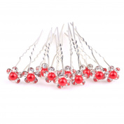 ILOVEDIY 10pcs Red Crystal Bun Hair Pins with Pearls Accessories for Bridal Weddings by Hair Accessories Jewellery