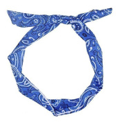 Paisley Wire Headband - Royal Blue