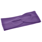 Women Stylish Wide Knot Plain Hair Headbands , Stretch Fabric Band, Purple