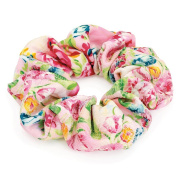 Pink Oriental Floral Oversized Hair Scrunchie by I Heart Fashion Accessories