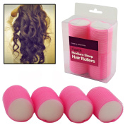 4 pcs Medium 45mm Foam Curling Hair Styling Self Grip Cling Rollers Pink