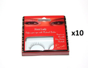 First Lady - Premium Natural False Eyelashes with Glue (10 pairs) #1260