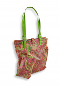 Pink Paris Paisley Tote Bag and Wristlet Set