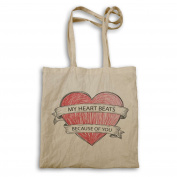 My heart beats because of you hand drawn heart Novelty Tote bag p79r