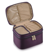 CHICECO Double Layer Makeup Bag Soft Large Cosmetic Brush Case – Dark Purple