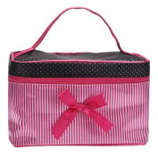 JACKY Makeup Bag, Square Bow Stripe Cosmetic Bag