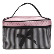 Fulltime(TM) Cute Lady's Dot Pattern Square Bow Stripe Cosmetic Organiser Pouch Clutch Makeup Bag Case Tool Storage Toiletry