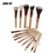 MAANGE 15Pcs Makeup Brushes Set, Soft Synthetic Foundation Eyeshadow Blusher Beauty Cosmetic Tools