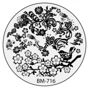 Plate BM 716 Bundle Monster Flowers Tribal Flower Design for Nail Art Stamping Template