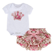 Puseky Newborn Baby Girls Princess Crown Rompers+Divided Skirt Outfits Clothes