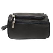 Piel Leather U-Zip Toiletry Kit, Black, One Size