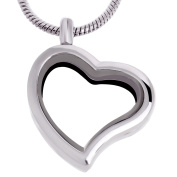RUBYCA Living Memory Heart Locket Snake Chain Necklace Crystal Floating Charm DIY Silver Tone 5Pcs