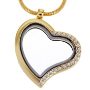 RUBYCA Living Memory Heart Locket Snake Chain Necklace Crystal Floating Charm DIY Gold Tone 5Pcs