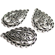 Heather's cf 29 Pieces Silver Tone Hollow Pattern Tear Drop Spacer Connector Findings Jewellery Making 30mmX20mm