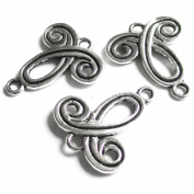 Heather's cf 45 Pieces Silver Tone-Bow Spacer Connector Findings (2 Holes)Jewellery Making 23mmX19mm