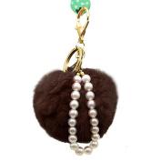HN Imitate Rabbit Fur Ball Pearl Car Keychain Handbag Key Ring
