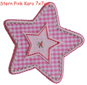 Iron-on patches embroidered applique by TrickyBoo - Star Pink Diamonds 7X7Cm Christmas Decorative Novelty Letter Fabric Novelty Iron On Embroidery