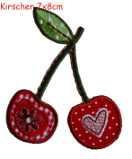 Iron-on patches embroidered applique by TrickyBoo - Cherries 7X8Cm Motif Iron On Sewing Applique Sequin Sewing Applique Raspberry Fruit Iron On Pat