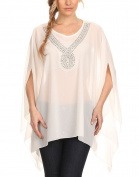 Modern Kiwi Sequin Your Love Embellished Chiffon Caftan Poncho Tunic White One Size