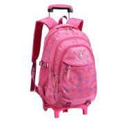 Waterproof Nylon Removable Trolley School Bags Backpack With Wheels Trolley Hand Travelling Bags Luggage For Kids Girls Pupils Primary Students