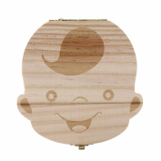 Kingfansion kidsTooth Box organiser baby Milk teeth Save Wood storage box