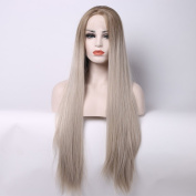 Aurica Fashion Long Straight Brown Roots Ombre Blonde Heat Safe Synthetic Hair Lace Front Wig
